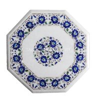 """20"""" White Marble Coffee Table Top Lapis Mosaic Floral Inlay Kitchen Decors W158"""