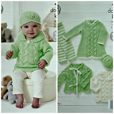 Knitting Pattern Baby motif de feuille robe leggings Cardigan & hat DK 4556