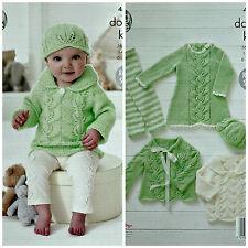 KNITTING PATTERN Baby Leaf Pattern Dress Leggings Cardigan Jumper & Hat DK 4556