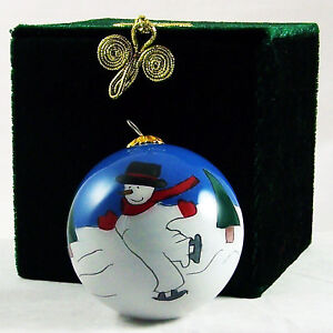 Li Bien Style Glass Ball Xmas Ornament Decor Snowman Skating & Green Brocade Box