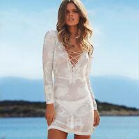 MELISSA ODABASH Silver Crochet Lace up Dress Cover Up Beach Kaftan BNWT