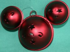 DISNEY PARK MICKEY MOUSE EARS JINGLE BELL RED METAL CHRISTMAS ORNAMENT NEW