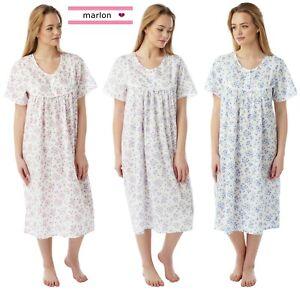 Ladies Plus Size Poly Cotton Short Sleeve Summer Nightdress Sleepwear Nightie