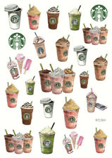A5 Starbucks Stickers ~ Kawaii Coffee Drinks DIY Planner Sticker Scrapbooking