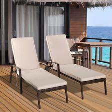 2PCS Back Patio Rattan Lounge Chair Seat Pool Regulate Relax Cushion Lying US