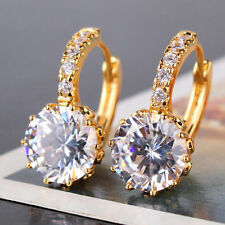 24ct Gold Filled Crystal Solitaire Hoop Earrings Topaz White yellow round
