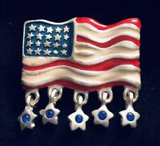 33ad69812 Vintage USA American Patriot Dangle Stars Rhinestones FLAG Brooch Broach Pin
