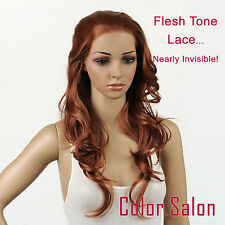 Hand-Tied Flesh Lace Front Synthetic Full Wigs Long Wavy Light Brown 92#30 (F)