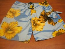 Quiksilver Men's bathing suit,Size 36, light blue with yellow floral, preowned