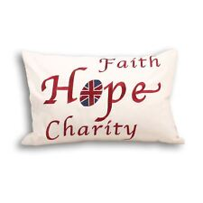UNION JACK FAITH HOPE EMBROIDERED 100% COTTON CREAM CUSHION COVER 35 X 50CM