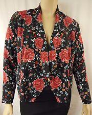 City Chic Black Multi Floral Long Sleeve Drape Jacket Plus Size XS 14 BNWOT C942