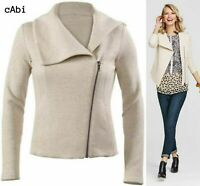 EUC CAbi Crop Quilted Moto Knit Ryder Jacket Oatmeal 913 women's size XS