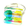Glass Ring Dichroic Adjustable Yellow Aqua Blue Striped Silver Rock Candy 15mm