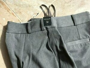 Quality NEW River Island Stylish Smart Grey Business Work Pleated Trousers Pants