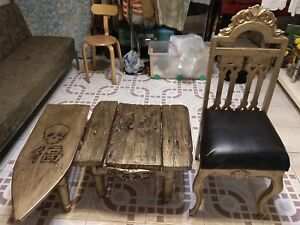 Gold Victorian chair and 2 small tables
