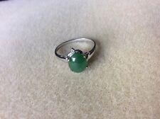 Asian Jade & Diamond Ring Size 7.5/24K white gold Pre-owned