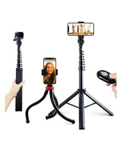 2 Pack Phone Tripods,62'' Extendable Selfie Stick and Octopus,Bluetooth Remote