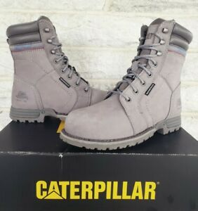 "Caterpillar CAT Womens 8"" Echo Steel Toe WP Work Boots Size 8.5 Grey P90565 $155"