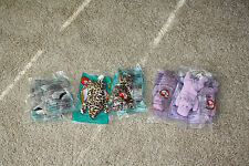 Seven McDonald's Teenie Beanie Babies by Ty Hippo, Leopard, Anteater 1998 & 1999