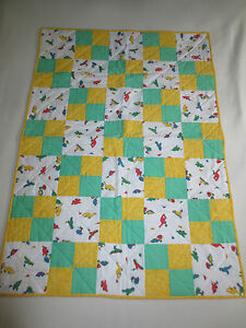 "Handmade YELLOW & GREEN DINOSAUR Crib Quilt - 30"" x 42"""