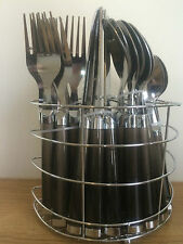 24pcs Stainless Steel Cutlery Set Fork Spoon With Basket Holder Rack Fork Spoon.