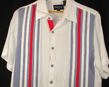 0a164c6322 Nat Nast Bowling Shirt White Gray Red Applique Striped Rayon Short Sleeve  Sz M