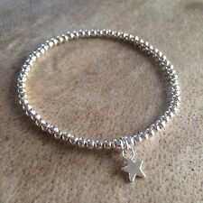 Silver Ball Beaded Star Wish Stacker Surfer Stretchy Bracelet Bangle UK SELLER
