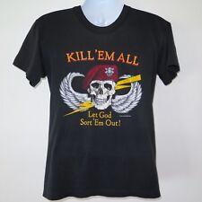 VINTAGE ORIGINAL TEE SHIRT US ARMY RED BERET KILL EM ALL 1980s BLK 50/50 SMALL
