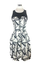 CUE Dress - Geometric Fit Flare Pleat Zip A-Line Black White Stretch Vintage - 8