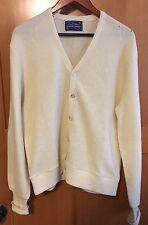 Vtg ARNOLD PALMER Mens Old Man Fuzzy Wool Blend Cardigan Sweater Large Off-white