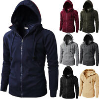 Mens Fleece Lined Hooded Coat Zip Up Plain Hoodie Jacket Overcoat Sweatshirt Top