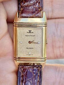 Jaeger-LeCoultre Reverso Swiss Watch 18K Solid Gold Quartz Box & Papers Ladies