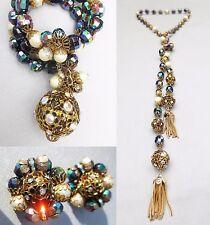 Vtg HOBE Parure - Lariat Necklace Bracelet & Earrings AB Crystals RS & Tassels