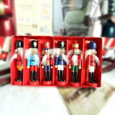 6Pcs/Set Christmas Wooden Nutcracker Soldier Handcraft Decor Ornament Gift