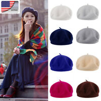 Hot US Fashion Women's Solid Beret French Style Warm Beanie Hat Ladies Ski Cap
