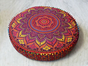 """Cotton 35"""" Large Round Floor Handmade Cushion Pillow Cover Pouf Meditation Cover"""