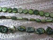136 Mother of Pearl Shell Beads Green Color Round Coin Nuggets 6mm - 20mm