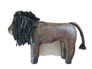 1980's  Dimitri Omersa Large Leather Lion Footstool