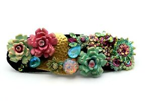 New! MICHAL NEGRIN Large Statement Floral Hair Pin Clip with Swarovski Crystals