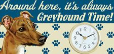"Greyhound Clock Indoor Wood Sign 5""x 10"" with Jute Hanger + Stand"