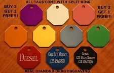 """Custom Engraved DOUBLE SIDED Tag Pet ID  OCTAGON  DOG CAT """"PREMIUM QUALITY"""""""