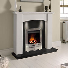 WHITE MARBLE CURVED GRANITE GAS SURROUND SILVER FIRE FIREPLACE SUITE DOWNLIGHTS