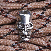 5x Paracord Beads Metal Charms Skull Bracelet Survival DIY Pendants Supply