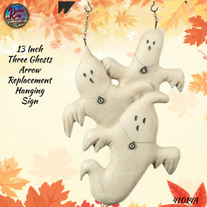Primitive Hanging Resin 3 Ghost Arrow Replacement Sign Plaque Fall Hallo