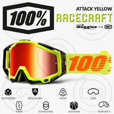 MASCHERA 100% RACECRAFT MX OCCHIALI MOTOCROSS ATTACK YELLOW LENTE SPECCHIO ROSSA