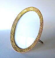 Antique Oval Brass Photo CirFrame With Original Convex Glass