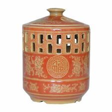 Chinese Ceramic Large  Candle Holder with Lid - Red Ceramic Good Fortune Pattern