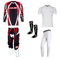 PULSE ORANGE TSUNAMI MOTOCROSS MX ENDURO QUAD BMX MTB KIT + BASE LAYERS & SOCKS