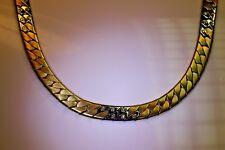 Halskette 585/- Gelb+ Weißgold, Handarbeit, Flachpanzer, 18 Brill. 0.24ct., 45cm