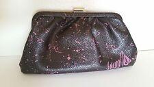 VOLCOM Black and Purple Faux Leather Clutch Handbag, Dark Brown Satin Interior